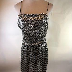 Zara Black Silver Strappy Dress L New